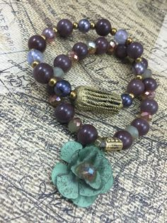 African Baule Charm Bracelets Purple by JustSouthOfUrban on Etsy