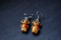 Robot Polymer Clay Earrings Gold by Cyclop on Etsy, $16.50