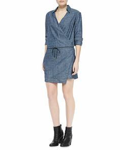 Angular denim wrap dress. Do this w/booties when it's cold; & fancy gladiators or cagey sandals in summer. rag & bone  #CUSP $253