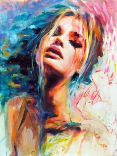 Unknown - Wow, I adore this painting! Teh bright colors, the complementary colors make each other extra bright. I also love the way of painting this artist used. Nice composition and I love th epink eyeshadow  on the girl!  Found this on wehearit.com