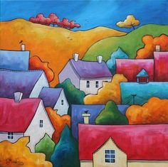 A Village Autumn by Gillian Mowbray | Artgallery.co.uk Colorful Paintings, Watercolor Paintings, Silk Painting, Art Paintings, Art Lessons, House Drawing, Naive Art, Whimsical Art, Folk Art