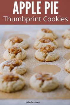 Apple Pie Thumbprint Cookies are the ultimate thumbprint cookie recipe. Tender and light cookies that has a rich and spiced apple pie filling in the center. #applepie #thumbprint #cookies #recipe #cookierecipe #homemade #fromscratch
