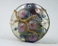 "DAVID SIVERS "" CATALPA ""  Handmade Lampwork Floral Focal Bead ~ SRA"