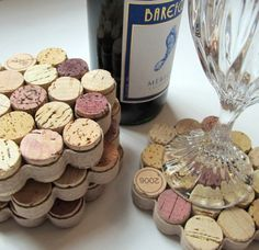 Honeycomb Wine Cork Coasters with Khaki Ribbon - •Materials: wine corks,knife, glue, ribbon and flat cork bottom -- Set of 4 sell for $22.00 on Etsy