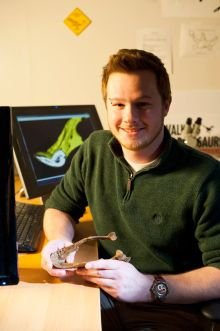 Greg with a model of the Apatoraptor jawbone.