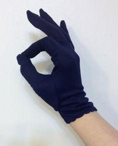 1950's Dark Navy Blue Fabric Gloves Pin Up by RetrosaurusRex