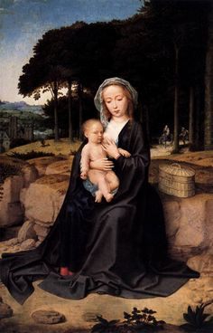 Gerard DAVID [Netherlandish Northern Renaissance Painter, Rest during the Flight to Egypt c. 1515 Oil on panel, 60 x 39 cm Museo del Prado, Madrid Flights To Egypt, Gerard David, Images Of Mary, Mary And Jesus, Mystique, Madonna And Child, Oil Painting Reproductions, Blessed Mother, Renaissance Art