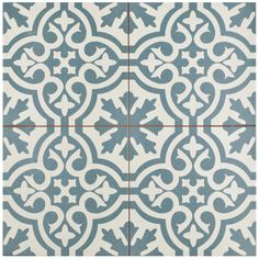 The SomerTile 17.625x17.625-inch Tudor Blue Ceramic Floor and Wall Tile captures the artisanal look of cement tiles. Use this ceramic tile on any interior wall and floor installation.
