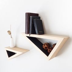 Set of Two: Triangular Floating Shelves w/ Contrast Paint from Fernweh Woodworking. Cubby Shelves, Wooden Shelves, Floating Shelves, Shelving, Diy Furniture, Furniture Design, Furniture Inspiration, Diy Woodworking, Home Projects