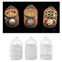 Wish | Hollow Holder Tealight Candlestick Hanging Lantern Bird Cage Vintage Wrought New CYR (Size: 2, Color: White)