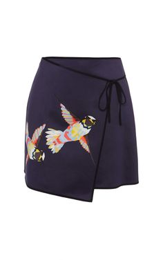 Navy Hummingbird Wrap Skirt by MSGM for Preorder on Moda Operandi