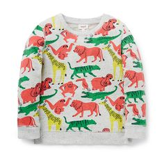 100% Cotton Sweater. French terry, crew neck sweater with ribbed neck, cuffs and hem. Features all over animal yardage print. Regular fitting silhouette. Available in Overcast Marle.