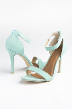 Mint suede single strap high heel sandals - Prom Shop