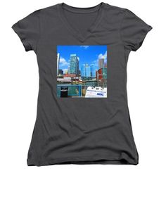 All Junior Vneck Tshirts - BOSTON Cultural Connector Infrastructure Urban Landscape skyline NavinJoshi FineArtAmerica Pixels Juniors V-Neck by Navin Joshi
