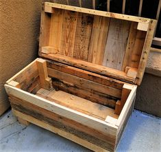 used pallet made storage chest