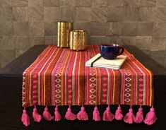 Enliven your dining experience with these table runner featuring tribal/aztec designs. Crafted using woven fabric, each they offer an effortless way to brighten up your dining table. Returns accepted only in case of damage. No Bleach. Line Dry only. Table Runner And Placemats, Table Runner Pattern, Quilted Table Runners, Modern Table Runners, Christmas Runner, Pink Table, Aztec Designs, Dining Table In Kitchen, Table Linens