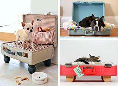 Cuccia per cani e gatti creata con il riciclo delle valigie vintage #DIY #suitcase #vintage #pet