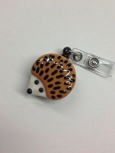 Retractable Badge Holder Fused Glass Hedgehog. by CDChilds on Etsy