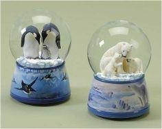 Polar Bear and Penguin Family Christmas Snow Globe ...