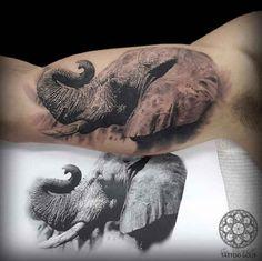 3D Tattoo Elephant head on upper arm - http://tattootodesign.com/3d-tattoo-elephant-head-on-upper-arm/   #Tattoo, #Tattooed, #Tattoos