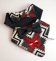 Red Aztec Baby Bandana Bib Gift Set by MoreAdventurousCo on Etsy