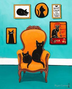The Turquoise Room CAT Folk Art Giclee Print by KilkennycatArt
