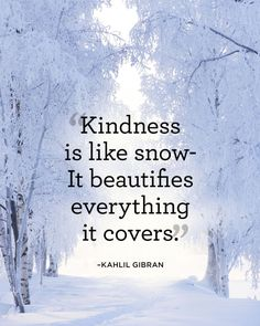 Kindness is like snow - it beautifies everything it covers.
