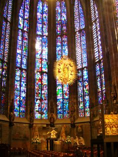Stained glass from Aachen Cathedral in Germany; construction was started by Charlemagne in 792. Beautiful!