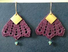 Delicate handmade vintage inspired crocheted earrings by Littlestuds, artist Ginger Metzger