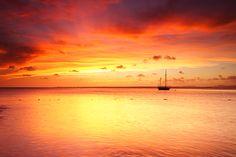 Scarlet sunset in Bonaire, Dutch Caribbean #getaway #travel #wallart