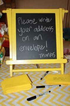 Great idea for thank you cards - to get everyone's address without having to track them down!