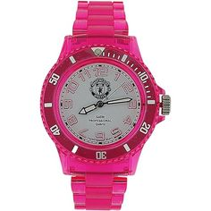 Manchest United FC Electric Ladies Translucent Pink Plastic Strap Watch LA3285 Pink Plastic, Chelsea Fc, Casio Watch, Electric, The Unit, Watches, Lady, Wristwatches, Clocks