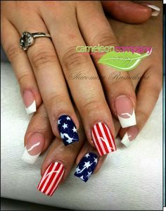 American Flag Nails with French tips!