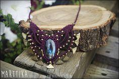 Collar macrame con LABRADORITA AZUL. Tribal jewelry por mARTtika