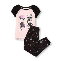 Super cute, runs large. MORE different colors and size+++ sets +++The Children's Place Girls' Big Short Sleeve Graphic Paja. Best Pajamas, Cute Pajamas, Girls Pajamas, Girls 4, Short Girls, Unicorn Graphic, Pj Sets, Star Print, Pajama Set