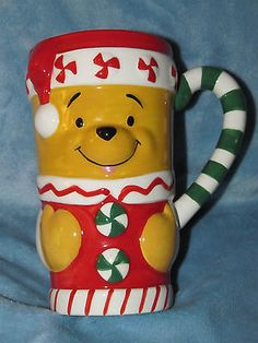 """Disney Store Winter Pooh Mug 6"""" Tall X 5 1/2"""" Wide Pooh and Friends Coffee Cocoa"""