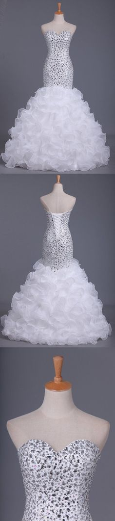2020 Mermaid Prom Dress Beaded Bodice Organza Floor P9PYCYBZ, This dress could be custom made, there are no extra cost to do custom size and color Elastic Satin, Mermaid Evening Dresses, Special Occasion Dresses, Ball Gowns, Bodice, Tulle, Floor, Mermaid Wedding, Wedding Dresses