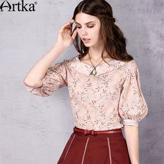 Artka Women's Spring New Solid Color Printed Cotton Shirt Elegant Turn-down Collar Lantern Sleeve Shirt SA10152X