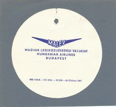 MALEV Hungarian Airlines Vintage Baggage Tag