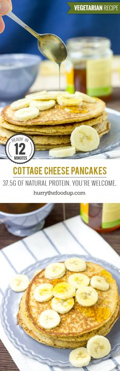 3 Ingredient Cottage Cheese Pancakes #pancakes #breakfast | hurrythefoodup.com