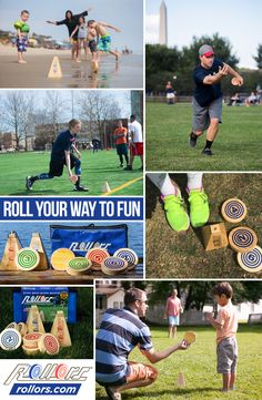 Adults and kids love the game of Rollors. This highly-reviewed game is played at the beach or on the lawn and it is a cross between horseshoes, bocce ball and bowling. This game is great for reunions, back yard parties or beach vacations and the whole family can play. The pieces are a nice quality wood and the game comes with it's own portable storage bag. Outdoor Yard Games, Yard Party, Lawn Games, Adult Games, First Game, Beach Day, Bowling, Bag Storage, Backyard