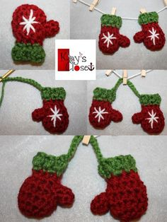 Mini Mitten Set Ornament.  FREE pattern on Craftsy.com. ✿⊱╮Teresa Restegui http://www.pinterest.com/teretegui/✿⊱╮