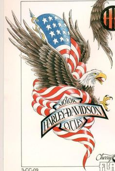 05 687x1024 American Eagle Harley Davidson Tattoo with Blueprint