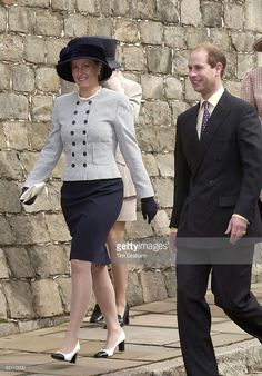 The Earl And Countess Of Wessex [ Prince Edward And Sophie ] Laughing Together At The Easter Day Service At Windsor Castle , Berkshire.