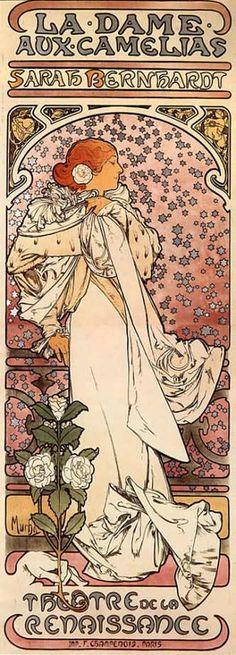 """Affiche d'Alfons Musha : """"La Dame aux camélias"""""""