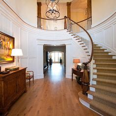 Rolling Stair Case and Chandelier