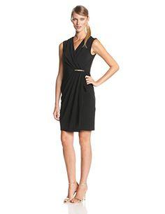 ccfe837a9c4c3 Ivy   Blu Women s V-Neck Faux Wrap Sheath Dress