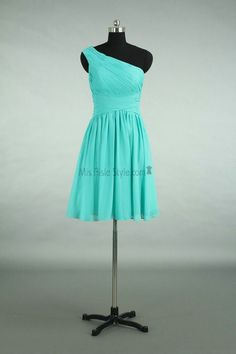 Knee Length One Shoulder Deep Green Bridesmaid Dress