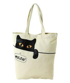 Sleepyville Critters Peeking Black Cat Canvas Tote Bag | zulily