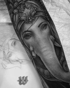 Indian elephant god, Ganesha. Ink Instagram, Grey Scale, Black Ink Tattoos, Indian Elephant, Ganesha, God, Photo And Video, Portrait, Dios